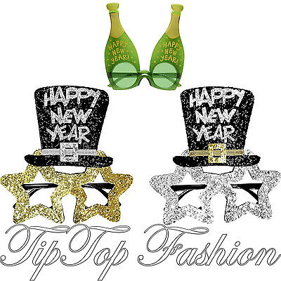 Gold & Silver Black Happy New Year Glasses Shades For Christmas Party FancyDress (Happy New Year Glasses)