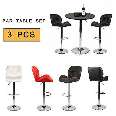 3-Piece Pub Table Set Bar Stools Dining Chair Counter Height Adjustable Kitchen 3 Piece Chrome Bar