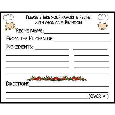 50 Recipe Cards Personalized for Bridal Shower - Recipe Cards For Bridal Shower