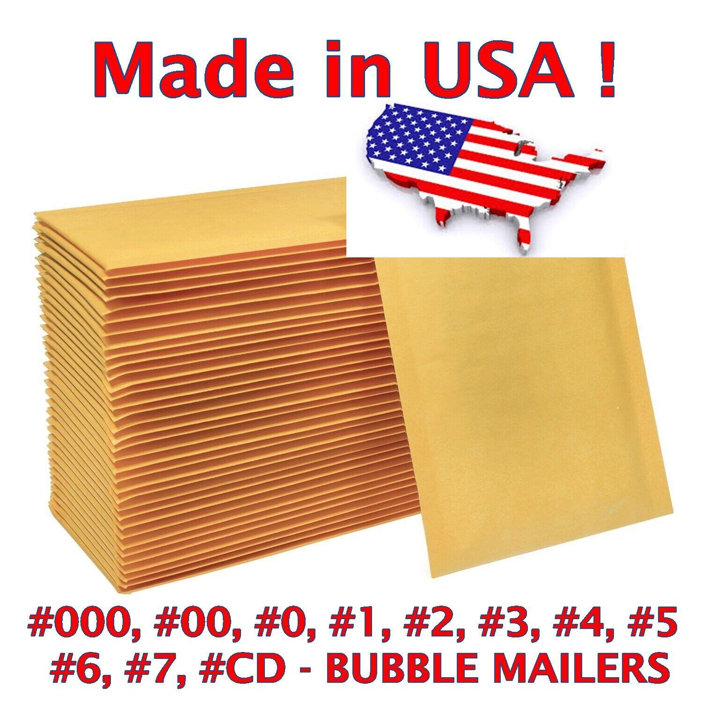 Wholesale Bubble Mailers Padded Envelopes #0 #1 #2 #3 #4 #5 #6 #7 #00 #000 - USA