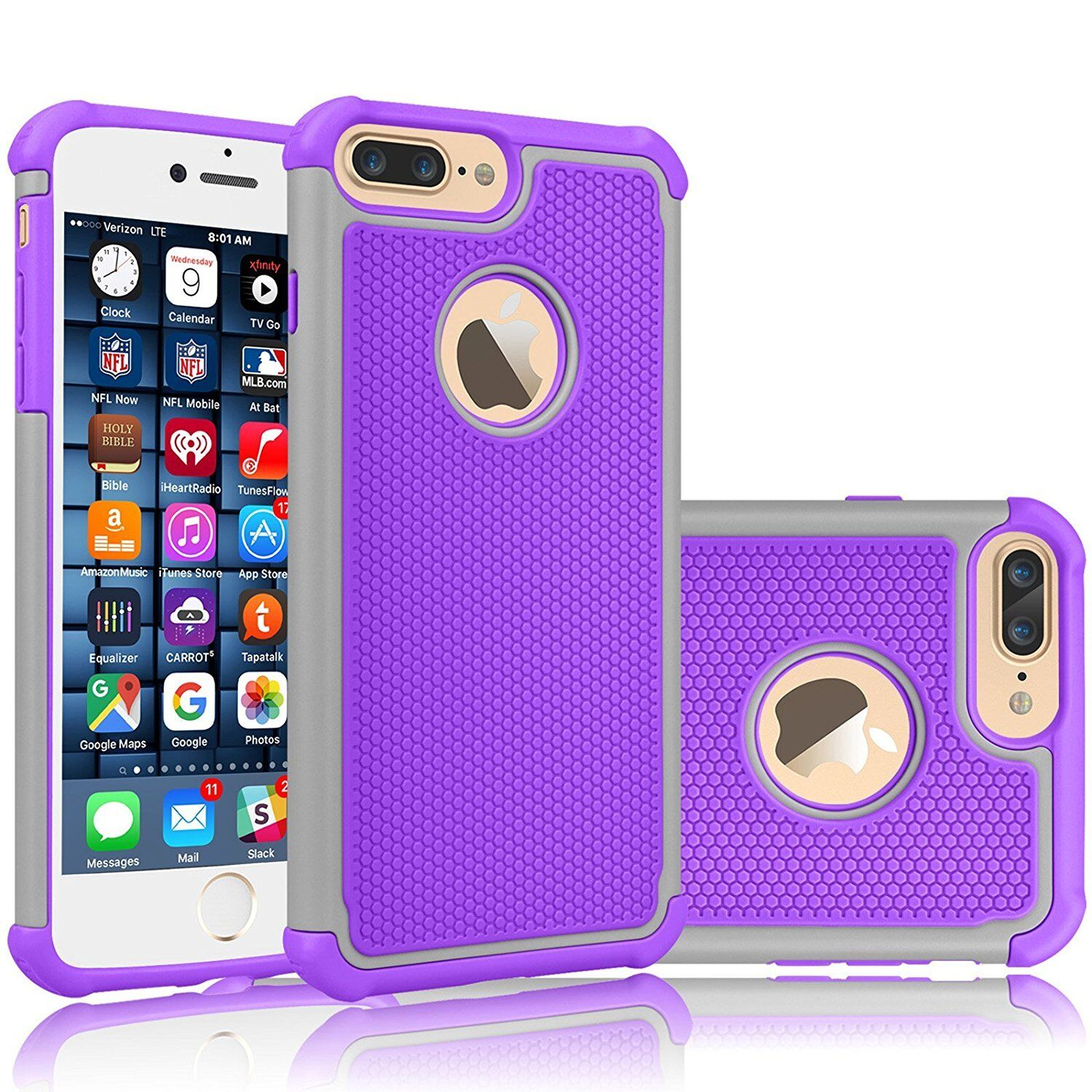For iPhone 8 7 8 Plus Shockproof Hybrid Rubber Protective Hard Slim Case Cover