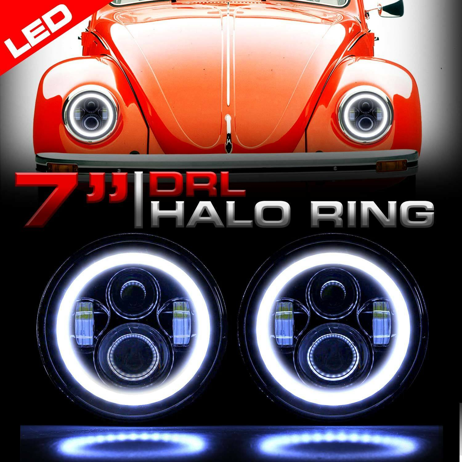 Details About Round Halo Pro Projector Black Headlights Upgrade For Vw Beetle Clic