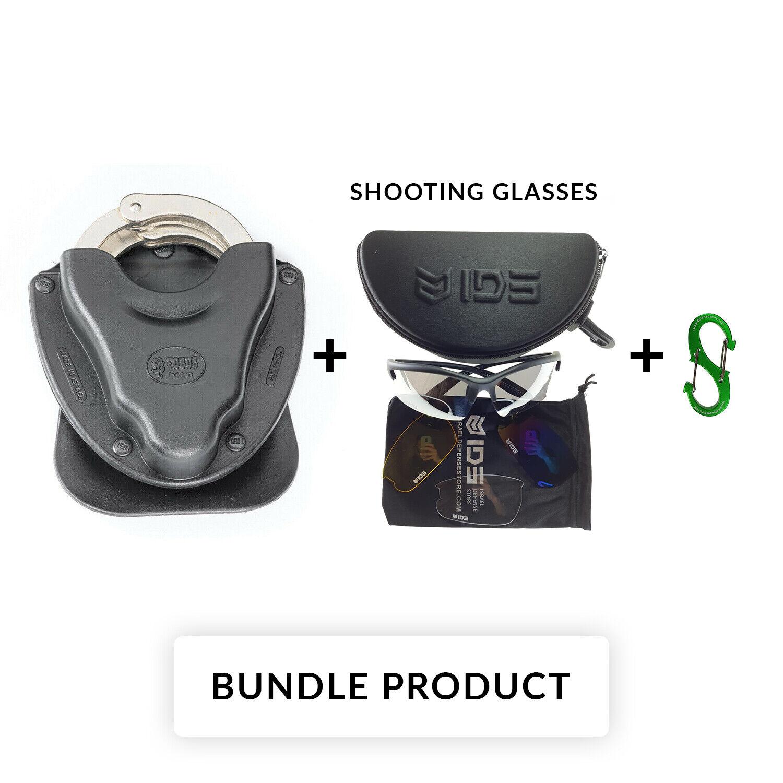 BUNDLE Fobus HSB Black Open Top Handcuff Holster For Chain Handcuffs Belt Type