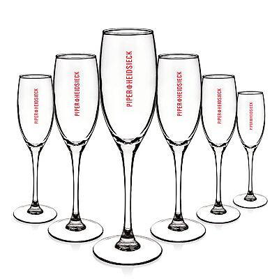6 x Piper Heidsieck Glas Gläser Champagner Flöte Edel Design Gastro Bar NEU