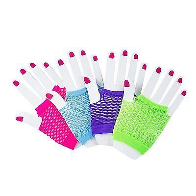 12pk 80s Themed Fishnet Fingerless Diva Wrist Gloves Neon Gloves Party - Neon Gloves