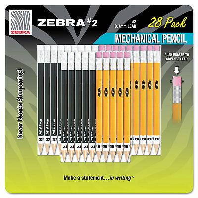 Zebra 2 Mechanical Pencil 14 Yellow14 Black 28pack 51391