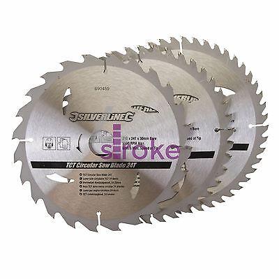 "210mm (8 1/4"") TCT Circular Saw Blades 30mm Bore 16 25 Reduce 24 40 48 Teeth 3pk"