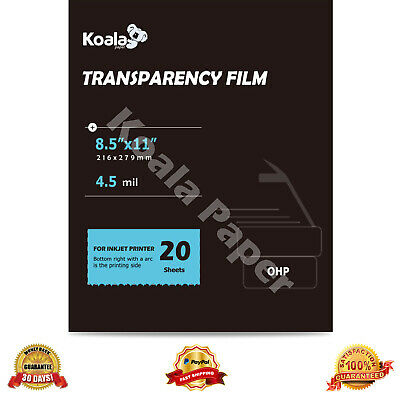 Koala 20 Sheets 8.5x11 Ohp Film Transparency Overhead Projector Inkjet Printer
