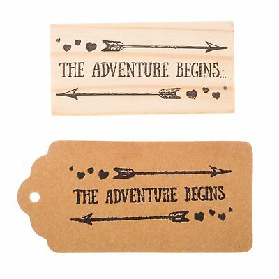 Wooden Rubber Stamp for Tags, Wedding Favor Stamps (The Adventure Begins)](Favors For A Wedding)