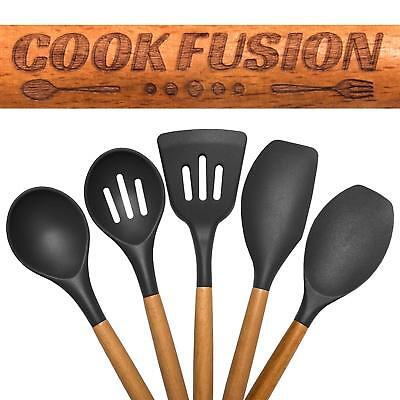 Cook Fusion Premium Quality Silicone Cooking Utensil Set - 5-Piece Non-Scratch S