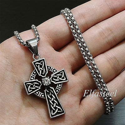 Celtic Cross CZ Stone Stainless Steel Men Women Pendant Box Chain Necklace (New Celtic Stone Cross)