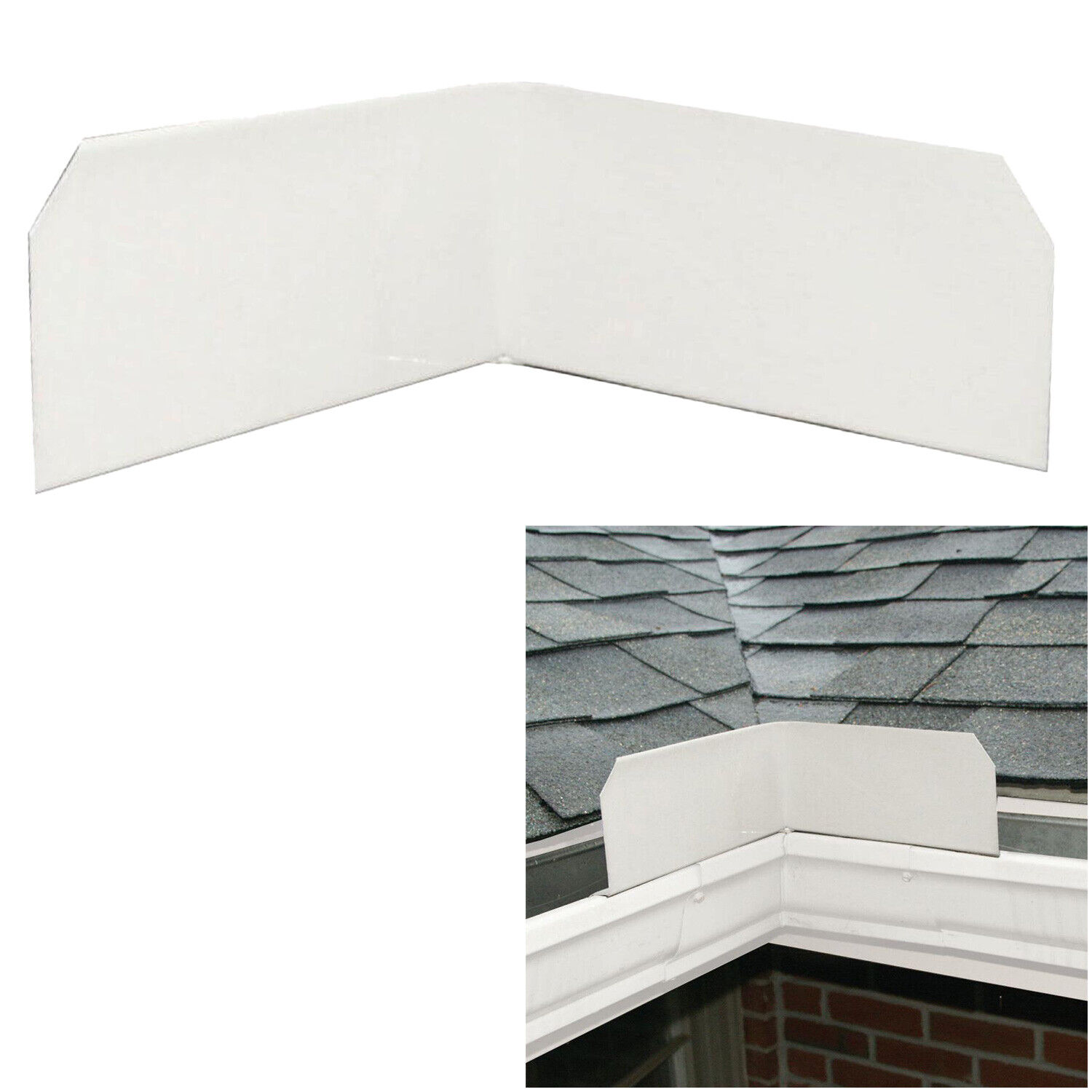 3 or 6-Pack Aluminum Roof Valley Splash Shield Gutter Guard in White Building & Hardware