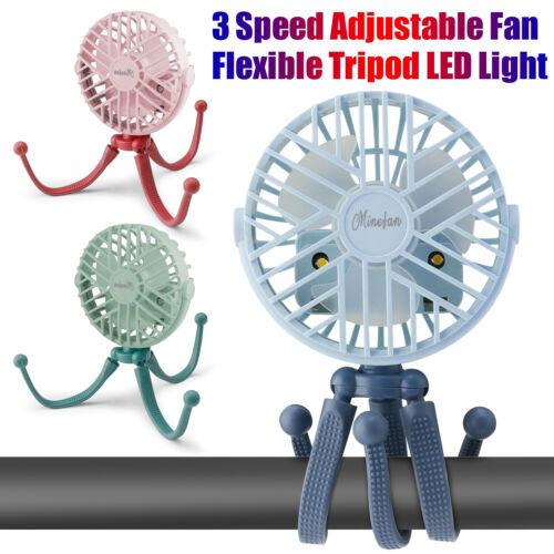 3 Speed USB Rechargeable Mini Cooling Fan Flexible Tripod for Baby Stroller Bike
