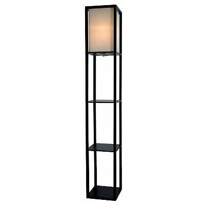 "Light Accents Floor Lamp 3 Shelf Standing Lamp 63"" Tall Wood"