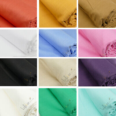 """100% Natural Cotton Linen Mix Soft Fabric Material, 60"""" Wide, 30 Colors"""