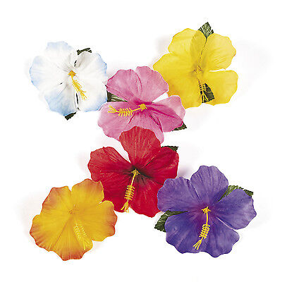 24 Luau Tropical HAWAIIAN SILK Hibiscus Flowers Decorations POOL BEACH PARTY - Beach Party Decor