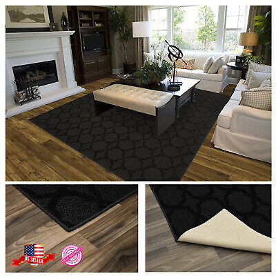 LARGE RUG AREA CARPET Home Mat Living Room Dining Modern Decor Black 6x9 Ft