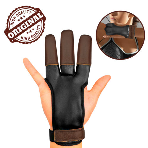 Leather Archery Gloves 3 Finger Tab Guard, Bow Shooting Protector Accessories