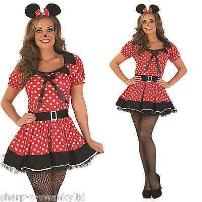 Damen Rote Fräulein Minnie Maus Party Kostüm Outfit 8-26 - Übergröße Maus Kostüm