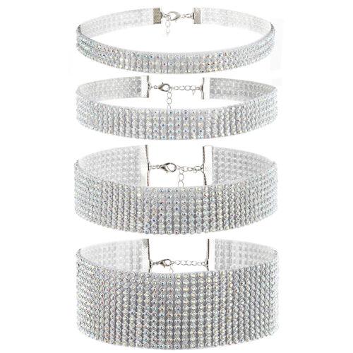 $7.99 - 4pcs Bling Rhinestone Choker Necklace Womens Wedding Party Chain Bib Statement