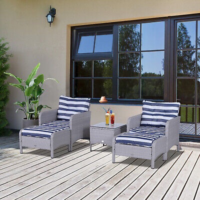 Outsunny 5pcs Outdoor Patio Furniture Set All Weather Wicker Conversation Set