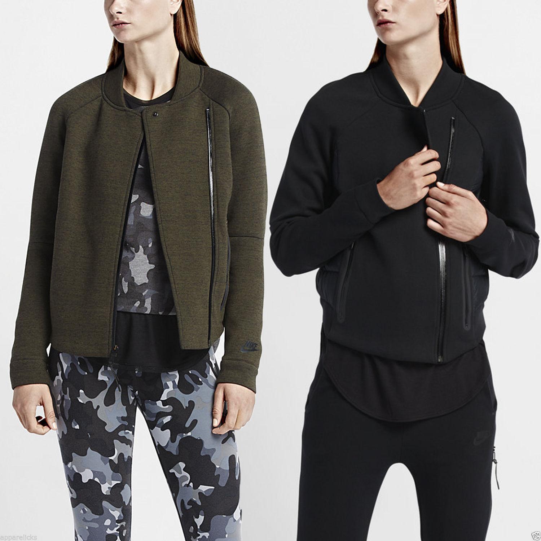 4162a57d615e Details about Nike Womens Tech Fleece Aeroloft Moto Running Jogging  Sweatshirt Jacket Top