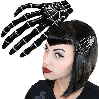 Kreepsville 666 XL Skeleton Bone Hand Slide Black Psychobilly Halloween NEW - Halloween Skeleton Hair