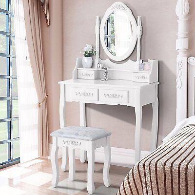 White Vanity Makeup Dressing Table Set Stool 4 Drawer & Mirror Jewelry Wood Desk