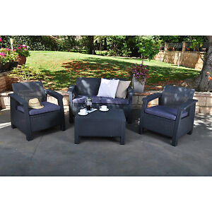 dark grey resin wicker patio seating set outdoor home furniture - Resin Patio Furniture