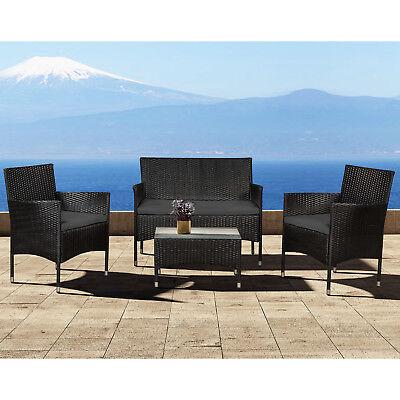 Polyrattan Gartenmöbel Lounge Tisch Sitzgruppe Rattan Poly Schwarz Dunkelgrau