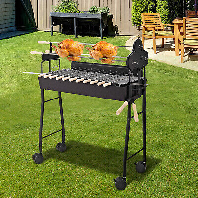 Outsunny Garden Outdoor Charcoal Trolley BBQ Barbecue Cooking Grill Powder Wheel
