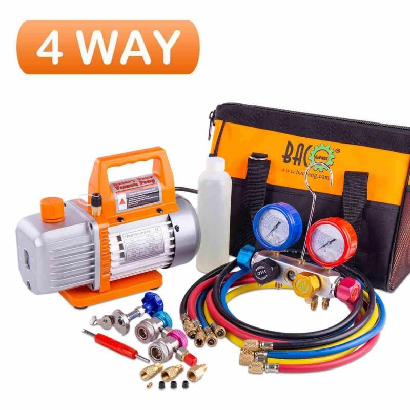 BACOENG Professional Vacuum Pump & Manifold Gauge Set-HVAC A/C Refrigeration Kit