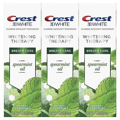 Crest 3D White Whitening Therapy Toothpaste, Spearmint Oil, 4.1 Ounce (3 PACK)