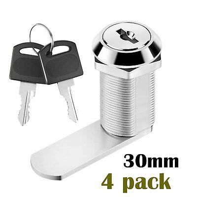 4x 30mm Metal Cam Lock For Door Cabinet Mailbox Drawer Filing Cupboard 2 Keys