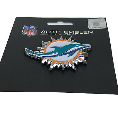 New NFL Miami Dolphins Auto Car Truck Heavy Duty Metal Color Emblem - Dolphins Nfl