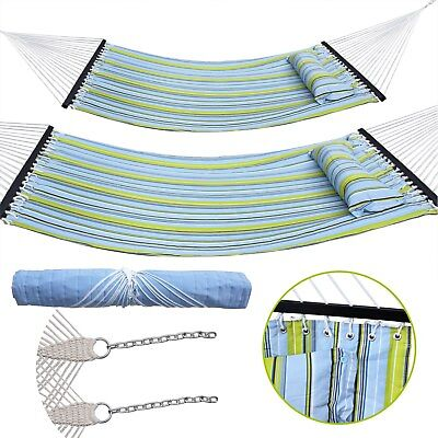 Portable Double Hammock Quilted Fabric Pillow Size Spreader Duty Outdoor Camping for sale  Fontana