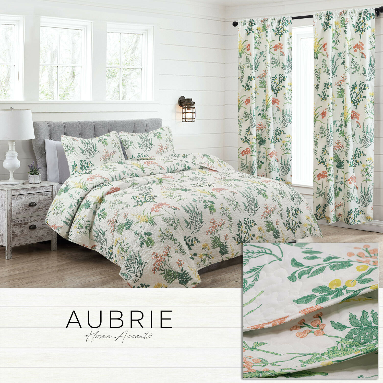 Twin, Full/Queen, or King Floral Botanical Quilt Bedding Set or Window Curtains Bedding