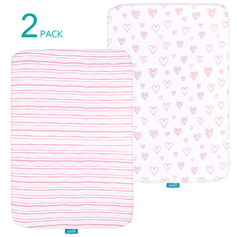 """Pack n Play Playard Sheets 100% Jersey Knit Cotton Stretchy 39"""" x 27""""  2 Pack"""