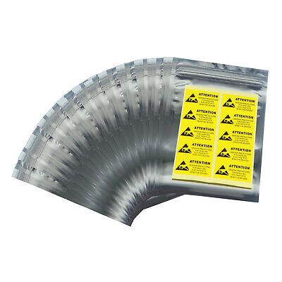 100 Pcs 4x6 Zip Lock Anti-static Esd Bags And Labels Us Stock Fast Handling