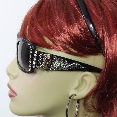 Rhinestone Sunglasses Western Bling Boot Concho Black Frame Gray Lens (Concho Sunglasses)