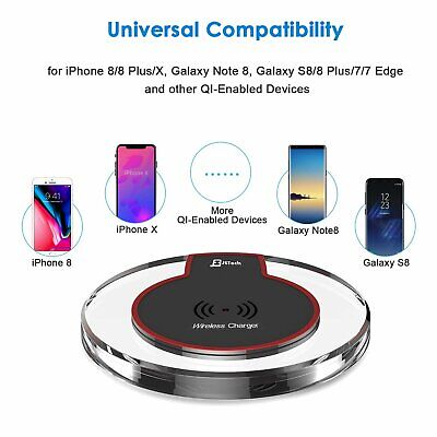 Fast Qi Wireless Charger Charging Pad For Samsung Apple iPhone 11 Xr S20 S10 Plu