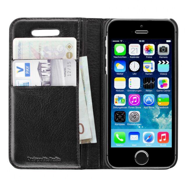 Artwizz Wallet Lederetui mit Kartenfächern für iPhone 5 5s Tasche Hülle schwarz
