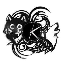Wolf Vinyl Wall Clock Record Famous Animal Best Gift Wolf Lovers Home Decoration