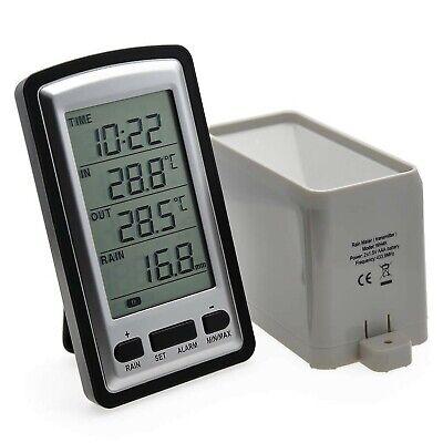 AMTAST Digital Wireless Rain Gauge with RCC, indoor/outdoor Temperature Time ...