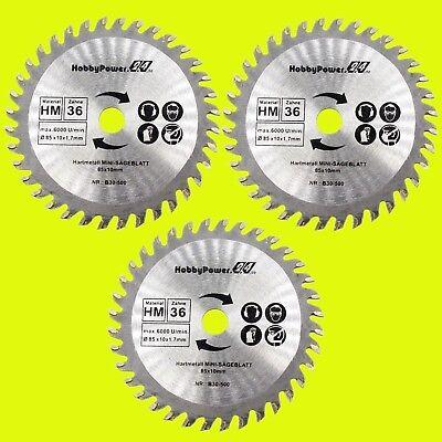 Mini Sierra Circular 3x Hm Hoja de 36 Dientes Madera 85x10mm Para Handycut Worx