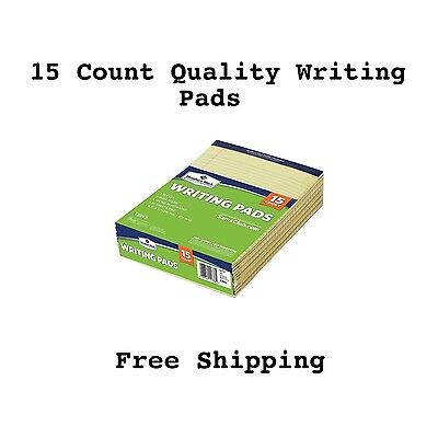Legal Writing Pad Yellow Paper Pads School College High 15 Pack Count