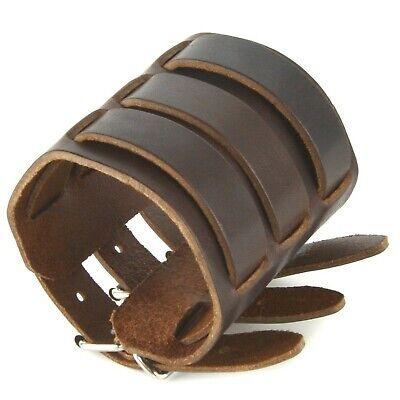 HZMAN Mens Genuine Leather Wide Triple Strap Cuff Wrap Gauntlet Wristband Buc...