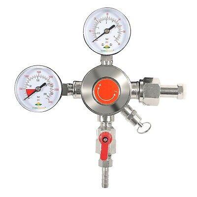 Terrabloom Co2 Keg Pressure Regulator For Draft Beer Kegerators. Dual Gauge Heav