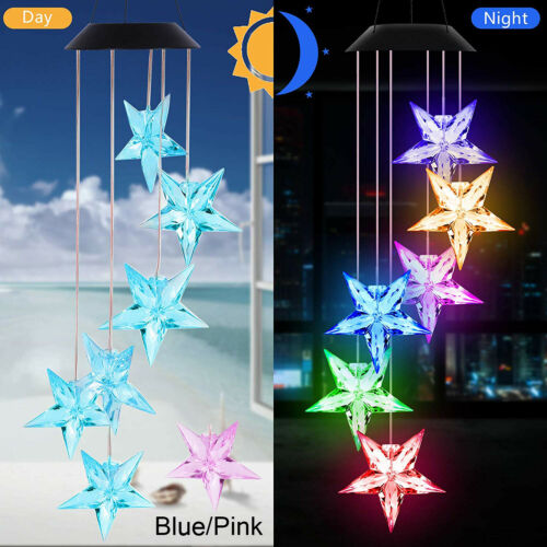 solar powered led star color changing wind