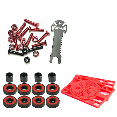 Independent Trucks Skateboard Hardware Blk/Red + Tool + Risers + Abec 5 Bearings